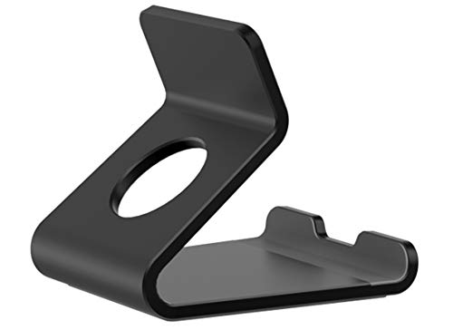 Desktop Cell Phone Stand, [2020 Updated] Desk Phone Holder with Stable Anti-Slip Design Compatible for iPhone 12/12 Pro/Smartphones/Tablets/Kindle (Dark Black)