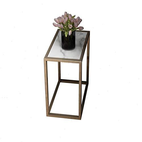 Living Room Side Table, Marble patroon rechthoek metalen salontafel huis Balkon Study Leisure Leestafel waterdicht en gemakkelijk schoon te maken (Color : A, Size : 60 * 55 * 30CM)