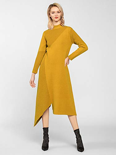 APART Fashion Damen Kleid Knitted Dress Gelb Yellow, (Herstellergröße:36)