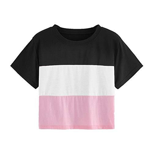 Nobrand Damen-T-Shirt, kurz, farblich passend, gestreift Gr. Large, rose