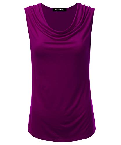 FASHIONOLIC Women's Cowl Neck Ruched Draped Sleeveless Stretchy Blouse Casual Tank Top (Made in USA) (PHI419) Magenta L