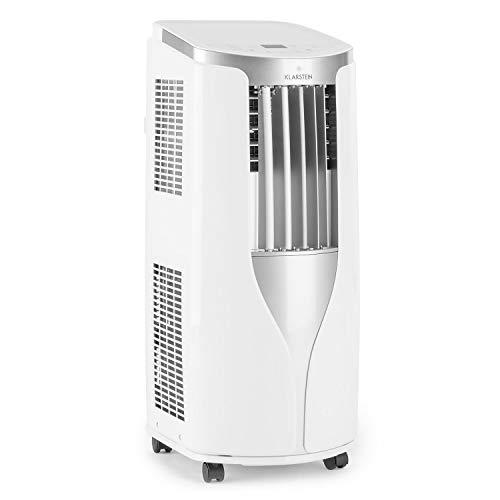Klarstein New Breeze 9 - Condizionatore Portatile, 3-in-1: Raffrescatore, Deumidificatore, Ventilatore, 9.000 BTU/2,6 kW, per Ambienti: 26-44 m², 4 Rotelle, Timer, Telecomando, Bianco Zinco