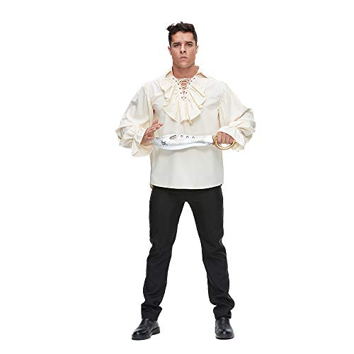 MATERIAL - Comfortable fabric, feel soft and chic. FEATURE - Ruffled lace up collar and long sleeve, losse fit and wide cuff. FITS - Great costume for Halloween, parties, shows and other festival/peformences. NOTICE - The Styles of Black and Beige ar...