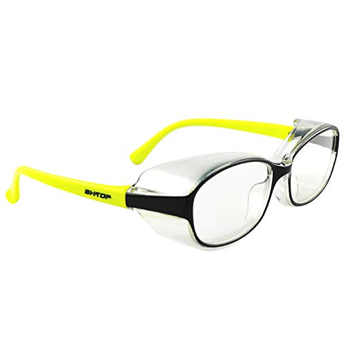 BHTOP Kids Safety Glasses Impact & Ballistic Protective Eye Wear Blue Light Block DM001-6 Clear Lens Anti-Fog Goggles In Yellow For Boys&Girls&Youth&Child