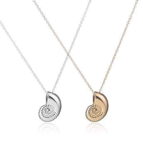 2 collares con colgante de concha de caracol – Collar de concha de oro y plata con espiral espiral de caracol de mar, collar de caracol de mar, collares para mujer, regalos de...