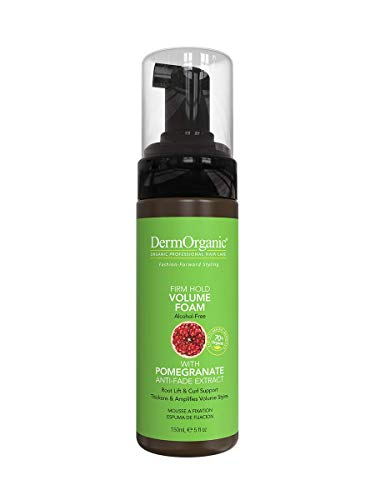 DermOrganic Firm Hold Volume Foam with Pomegranate Anti-Fade Extract - Alcohol-Free, 5 fl.oz.