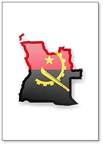 Kühlschrankmagnet Angola Flagge & Umrisse des Landes, Kühlschrankmagnet