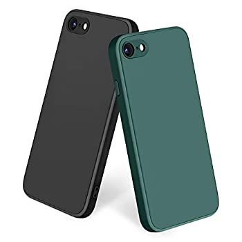 Amzpas [2 Pack] Compatible with iPhone SE 2020 Case iPhone 8 7 Case Silicone Phone Case Slim Shockproof Protective Cover Case with [Soft Microfiber Lining]  Black + Midnight Green