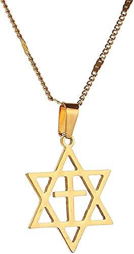 DUEJJH Co.,ltd Collar de Acero Inoxidable para Hombre, Collar con Colgante de Estrella de David, Cruz Megan David, joyería de Estrella judía