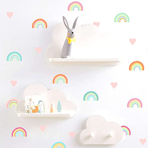 Colorful Rainbow Wall Decals Small Rainbow Wall Decal Watercolor Rainbow Heart Wall Stickers for Bedroom Girls Kids Room Nursery Decor