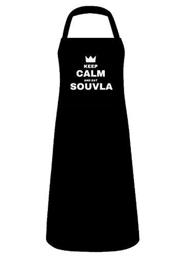 Noir Tablier de barbecue 100% coton avec Cyprusbbq Keep Calm and Eat Souvla Slogan