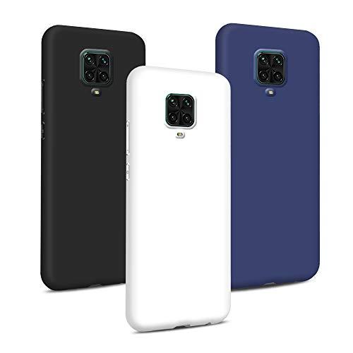 3X Cover per Xiaomi Redmi Note 9S / Redmi Note 9 PRO Custodia Silicone Case, Custodie Morbido Ultra Sottile TPU Gomma Cassa Flessibile Gel Protettiva Copertura (Nero+Bianco+Blu Navy)