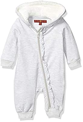 7 For All Mankind Baby Girls Coverall, French Terry Heather Grey, 0-3 Months