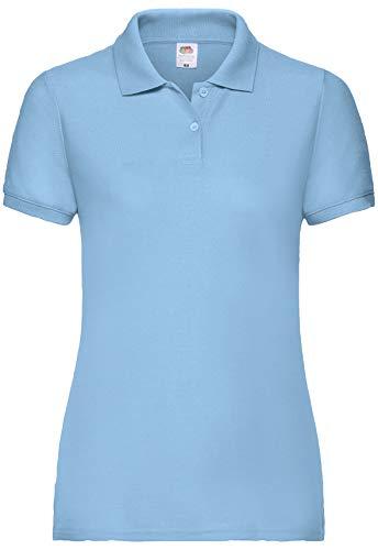 Fruit of the Loom 65/35 Polo Lady-Fit Poloshirt NEU, Farbe:Pastellblau, Größe:2XL