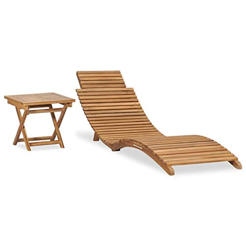 Festnight Klappbare Sonnenliege mit Tisch Holz-Sonnenliege Holzliege Geschwungen Hollywoodliege Klappbar Gartenliege Liegestuhl Lounge-Set Gartenmöbel Massivholz Teak