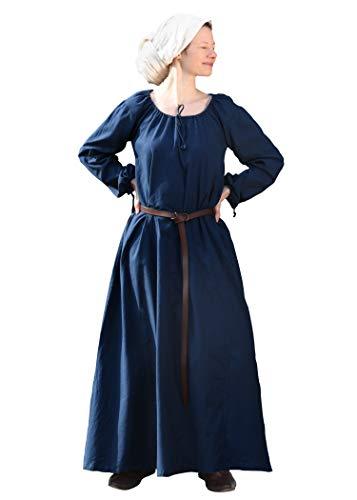 Battle-Merchant Mittelalter Kleid Ana Damen, Langarm, bodenlang, Baumwolle, LARP, Wikinger, Kostüm, Gewandung - blau, Gr. XXL