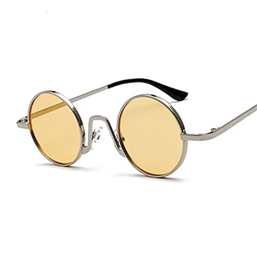 MINGQIMY Gafas de Sol Gafas de Sol para Hombres Hippie Retro Redondo Steampunk Marca de Lujo Gafas de Sol Moda Vintage (Lenses Color : Silver Yellow)
