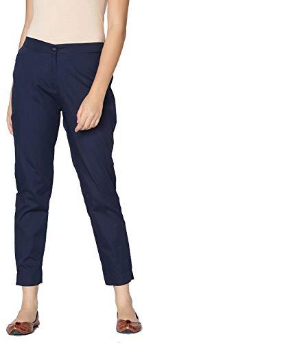 Srishti By FBB Women's Regular Fit Cigarette Pants (Navy Blue_Large)