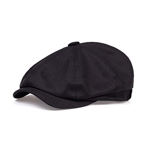 WGBHU Moda Primavera Verano algodón Boina Gorras para Hombres Mujeres algodón Sol Sombrero Unisex Octogonal Gorra Vintage al Aire Libre Deportes Sombreros (Color : Black, Hat Size : L)