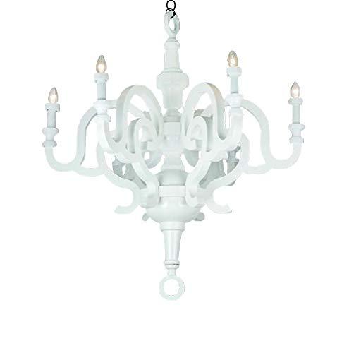 Lámpara colgante Papyrus Chandelier 70 - Blanco Fabricada en MDF lacado brillante, la forma se asemeja a una lámpara de araña antigua decorada