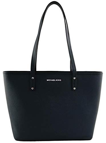 Michael Kors Shopper Tote Bag Jet Set Medium Saffianleder Handtasche, Blau - navy - Größe: Medium