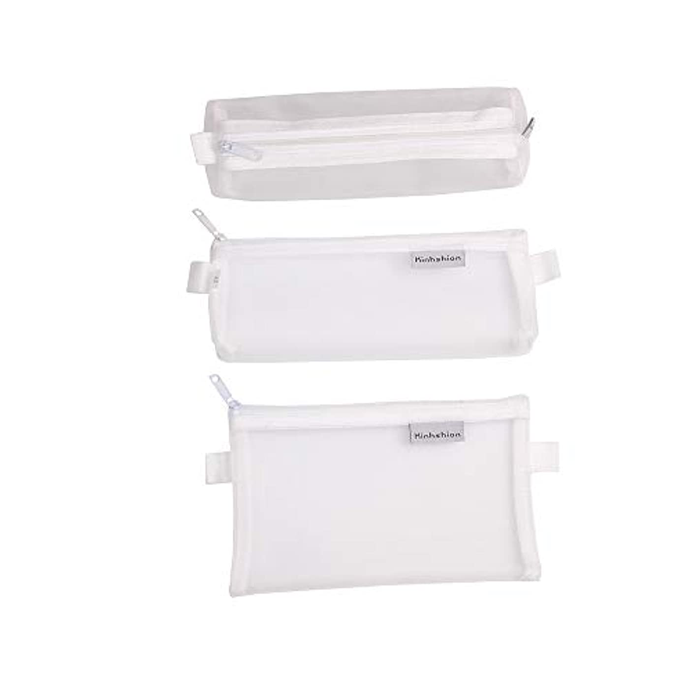 3PCS Multifunctional Mesh Pen Bag Pencil Case Makeup Tool Bag Storage Pouch Purse