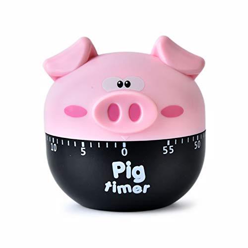 MAEKIJOY Eieruhr Timer Mechanischer Schwein Kurzzeitmesser Küchentimer Küchenuhr Countdown Küche Analog Kochen Backen Haushalt Zeitmesser Stopuhr Kurzzeituhr (Rosa)