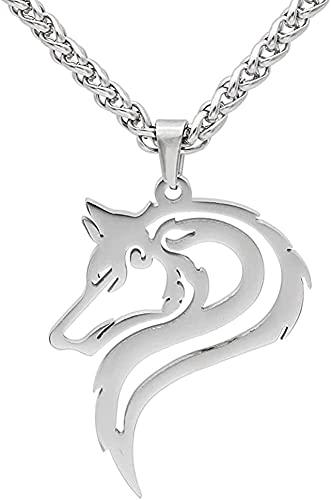 WWWXD Hombres Acero Inoxidable Ahueca hacia Fuera Viking Wolf Head Colgante Colgante, Norse Odin's Fenrir Celtic Amuleto, Hecho A Mano Retro Pulido Tótem Animal Joyería De Moda (Color : Silver)