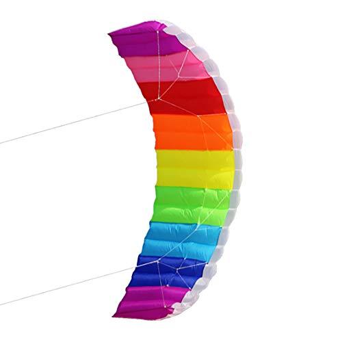 Billie Herrera Dual-line Parafoil Kite Rainbow with Control Bar Soft Stunt Power Flying Safety Sport Outdoor Fun