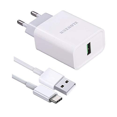 ZLONXUN Cargador rapido con Cable USB C para Xiaomi Pocophone F1, Mi A2/5/8/A1/Note 2/Note 3, Huawei P10/P10 Plus/P9/P9 Plus/Mate 10