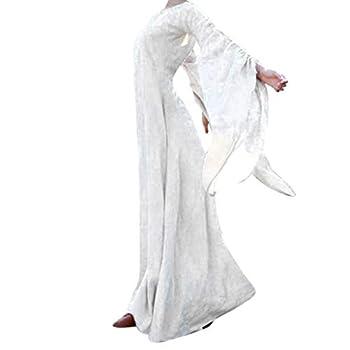 VEKDONE Women Halloween Dress Plus Size Gothic Victorian Poplin Long Sleeve Cosplay Lolita Witch Dress (White,Small