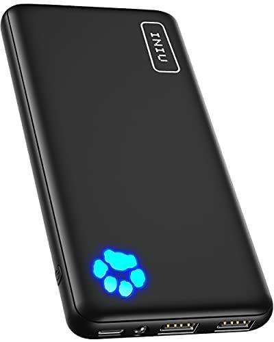 Power Bank, INIU Ultra Sottile & Leggero Powerbank 10000mAh Doppia Uscita 3A ad Alta Velocità, Porta USB C da Esterno Caricatore Portatile di Torcia per iPhone Samsung Huawei Xiaomi ECC.[2021 Version]