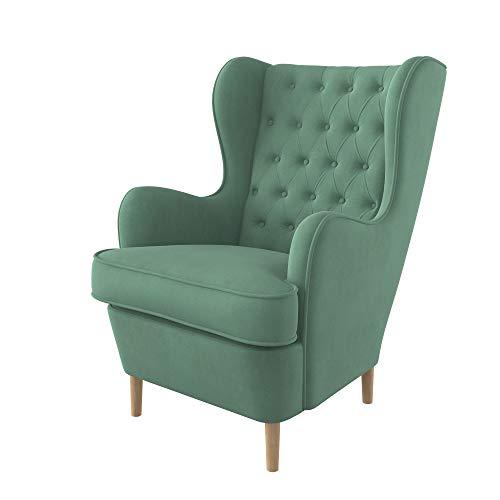Furninero - Ohrensessel, Flügelstuhl, Flügel Sessel, tiefer gepolsterter, Chesterfield-Stil, gerundete Beine Majestic Velvet Mint Stoff, Majestic Velvet Mint Stoff