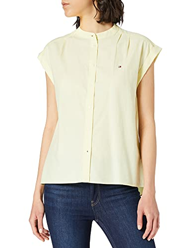 Tommy Hilfiger Oxford Relaxed Shirt NS Camisa, Limón Esmerilado, 42 para Mujer
