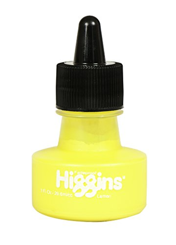 Higgins Pigmented Drawing Ink, Lemon, 1 Ounce Bottle (44625)