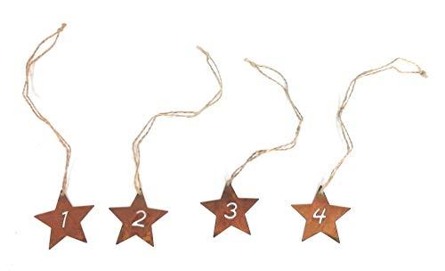 Gartenzaubereien Advendszahlen Stern 1-4 aus Edelrost