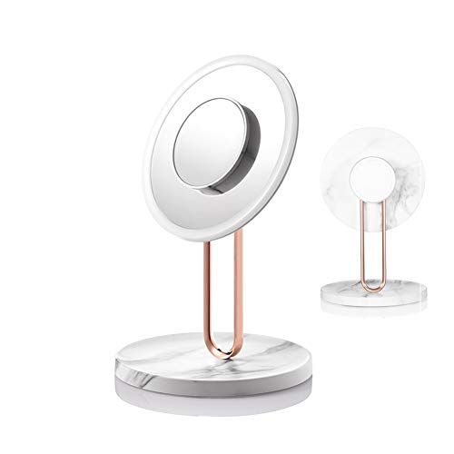 Miroir de maquillage, miroir de maquillage de voyage LED, Smart Beauty Mirror Desktop Dressing Mirror Day of Valentine's Birthday Gift-Illustrated Packed Version-marblewhite