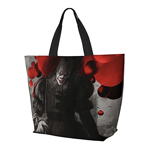 It Pennywise - Bolsa de hombro multifuncional plegable y reutilizable de gran capacidad con cremallera para mujer, bolsa de compras, bolsa de viaje, bolsa de ordenador