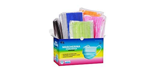 50pz Mascherine Chirurgiche Colorate Monouso Certificate CE Classe I Tipo IIR BFE ≥ 99% Colore...