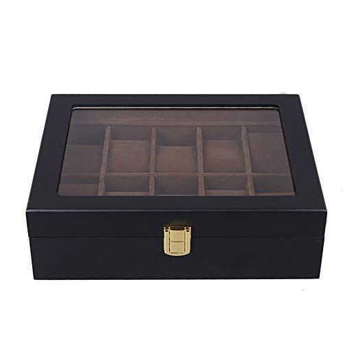LANLANLife Caja de Reloj de 10 Ranuras con Almohada extraíble, Vitrina, Cuero sintético, Negro