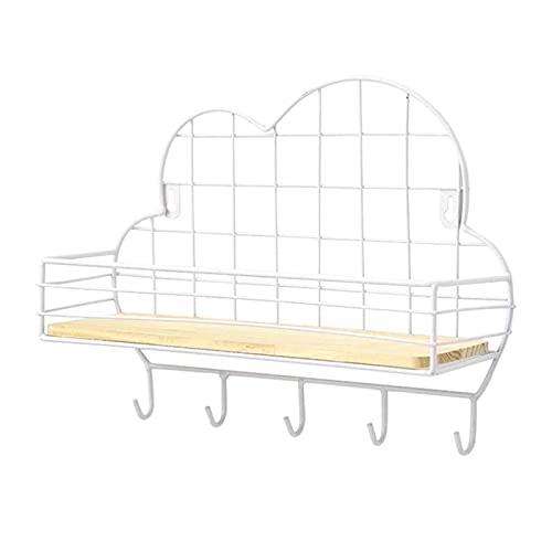 Mecmbj Estanteria Flotante Pared, Forma de la Nube Estante de Pared Metalico Hierro Estanterías Metálicas Organizar Bastidores Decoración del Hogar para Cocina Sala de Estar Dormitorio Baño (Blanco)
