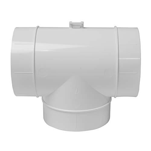 Vent Systems Conector de conducto de 100 mm, adaptador de manguera de 3 vías para conector de tubo en T redondo, extractor de aire, ventilación de la secadora, T. de 3 vías