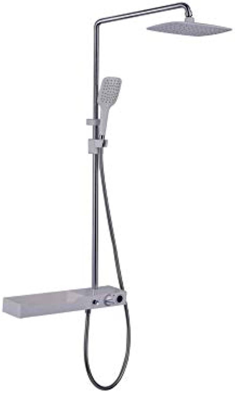 FUSHENG Wandmontage-Duschsystem, Wandmontage-Duschset für Luxus-Regenmischer, Handbrause mit Dusche, Thermostat-Duschset