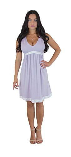 Charm Your Prince Women's Satin Silk White Ribbon Lavender Sundress M