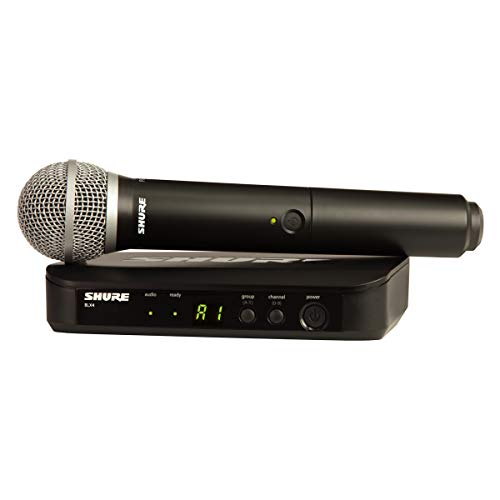 Shure BLX24/PG58 Wireless Microphone System with BLX4 Receiver and BLX2 Handheld Transmitter with PG58 Mic Capsule for Lead and Backup Vocal Applications