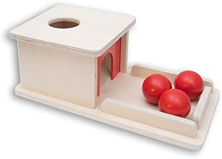 Montessori Object Permanence Box Wooden Toy Tray and Ball Drop w Three 3 Balls Baby First Learning product image