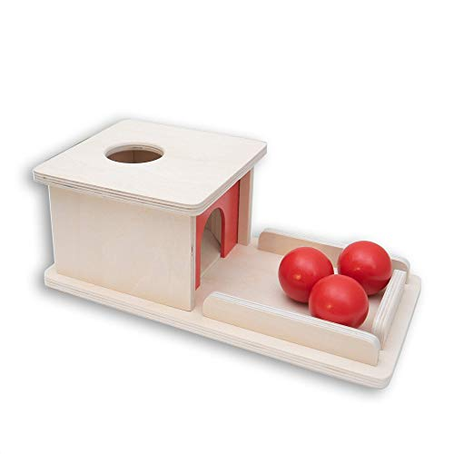 Montessori Object Permanence Box Wooden Toy Tray and Ball Drop w/ Three (3) Balls Baby First Learning Toys Imbucare Box