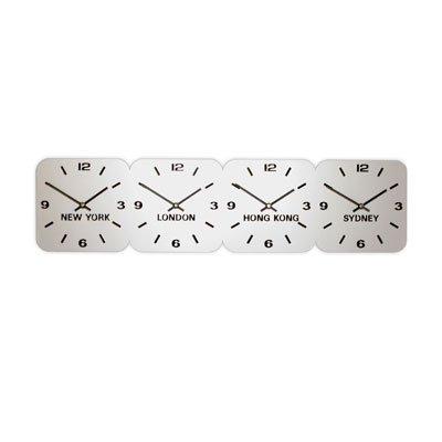 Large Horloge Acrylique Fuseaux Horaires Argent (24.5cm x 96cm Horizontale 4 Cadrans)