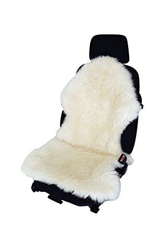 Autofell Sitzauflage Sitzbezug Lammfell-Naturform langwollig für Ledersitze (Weiß)