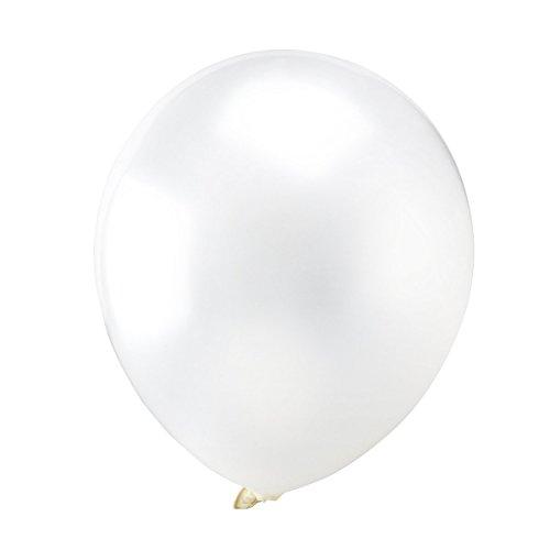 WINOMO Métalliques ballons 12 pouces couleur lumineuse Latex 100pcs (blanc)